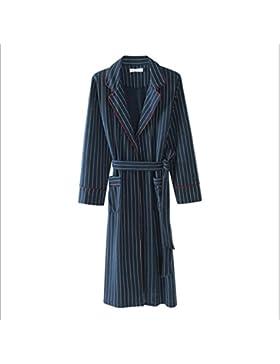 DAFREW Albornoz de algodón de manga larga, pijama de hombre, albornoz cómodo y transpirable, albornoz
