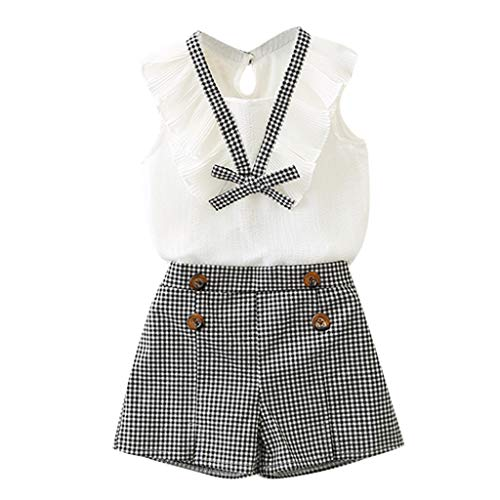 MRULIC Baby Mädchen Outfits Kleidung Bowknot Weste Tops + Plaid Shorts Hosen Sets Anzug 1-6 ()