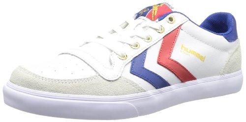 hummel HUMMEL STADIL LOW, Unisex-Erwachsene Sneakers, Weiß (White/Blue/Red/Gum), 43 EU (9 Erwachsene UK)
