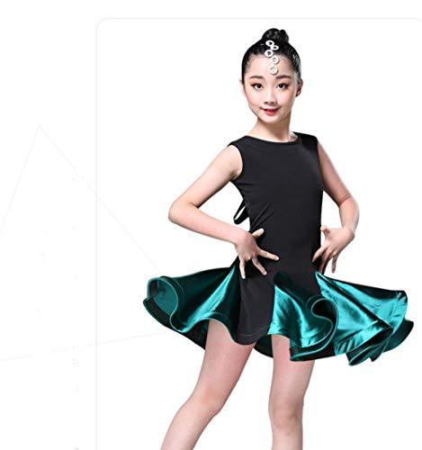 YZLL Mädchen Latin Kleid Latin Rumba Samba Ballroom Dancewear Kleid für Kinder Tanzwettbewerb Kostüme,Green,150CM