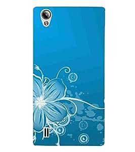 For vivo Y15S :: Vivo Y15 blue floral pattern ( blue background, white line flower, floral design, pattern ) Printed Designer Back Case Cover By FashionCops