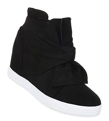 Damen Sneakers   Sneaker Wedges   Keilabsatz Schuhe   Wedge Sportschuhe   Basketball Style   Freizeitschuhe Klettverschluss   Schuhcity24   Schwarz 39