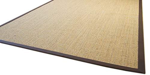 *Sisal Teppich Brazil mit Bordüre Farbe natur dunkel braun Premium Qualität 100% Sisal, Größe: 140×200 cm*