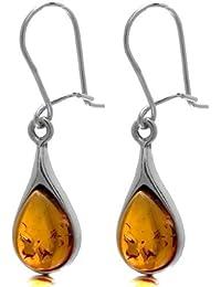 Honey Amber Sterling Silver Teardrop Dangle Earrings