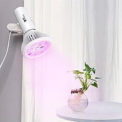 Amzdeal LED Pflanzenlampe - Wachstum Tageslicht Pflanzenleuchte für Garten Gewächshaus Zimmerpflanzen Blüte Blume Gemüsse Garten Balkon Rotes Und Blaues Spektrum 12W