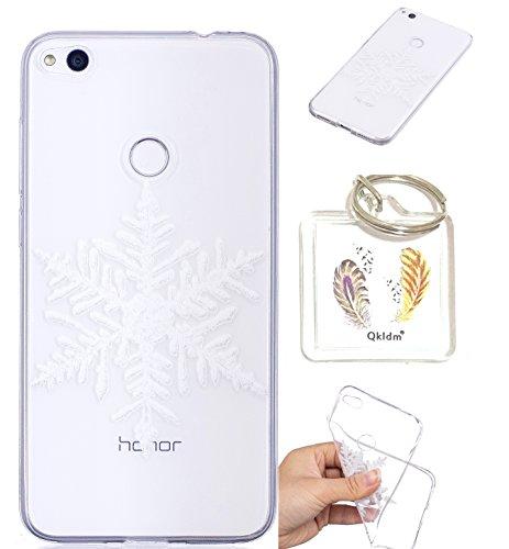 Huawei P8 Lite 2017 TPU schutz silikonhülle, Weihnachtsgeschenke niedlichen cartoon bild transparent handy fall P8 Lite 2017 (5,2 in) + schlüsselanhänger (* / 62) (1)