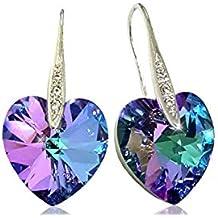 Artnouveau Elle Heart Pendant Drop Hook Earrings with Crystals from Swarovski (Vitrail Light)