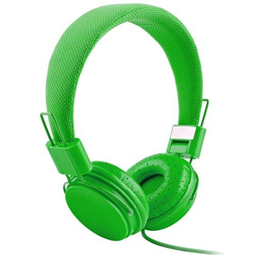Gaddrt Écouteurs câblés, casque pliable réglable avec microphone stéréo micro (Vert)