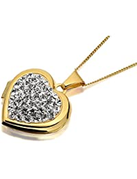 F.Hinds 9ct Gold Crystal Heart Locket And Chain Necklace Photo Pendant Jewelry