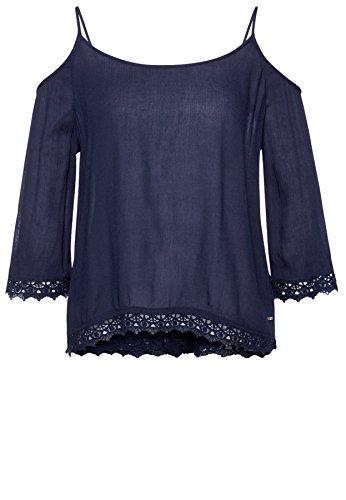 Tom Tailor Denim für Frauen Shirt / Blouse CarmenBluse mit Spitze real navy  blue