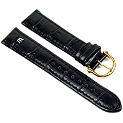 Maurice Lacroix XL Replacement Band Watch Band Leather Kalf Croco Print black leather 20836G, width:18mm