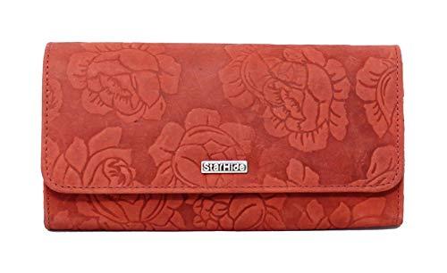 StarHide Frauen RFID Blocking Wallet | Damen Echte Distressed Leder Geprägte Rose Floral Geldbörse | Stilvolle Klappe über Lange Geldbörse mit Reißverschluss - 5580 (Rot) -
