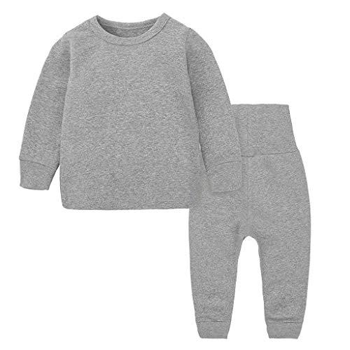 Baby Outfits Set Kolylong® Hausdienst Rundhal Einfarbig Schlafanzug Tops + Lang High Waist Hosen Leggins 2PCS Kleinkind Baby Mädchen Jungen Pyjama Bekleidungssets Babyset 3 Monate-5 Jahre -