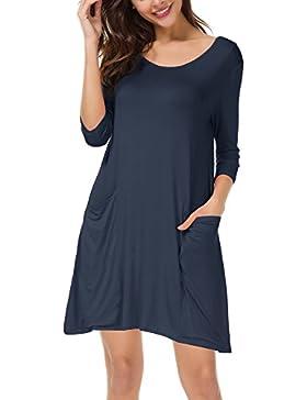 3b43f914d34d Urban GoCo Donna Casual Vestito Maglietta Tinta Unica Mini Vestito Abito  Tunica Tops con Tasche