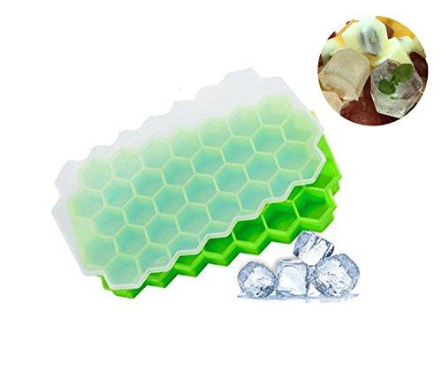 Nifogo Eiswürfelform Silikon mit Deckel, Eiswürfelbehälter, Ice Cube Tray,Eiswürfelbereiter BPA Frei, 37-Fach Eiswürfel, LFGB Zertifiziert, Einfach zu bedienen und Waschen?grün?