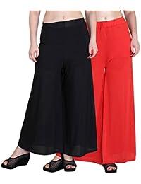 OOPLI :Palazzo Pack-2 Elastic Waist Wide Leg Flared Soft Malai Lycra Palazzo Pants For Women's-Free Size