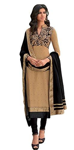 Justkartit women's Beige Colour Semi-Stitched Office Wear Salwar Kameez / Formal Wear Salwar Kameez / Party Wear Salwar Kameez (Churidar Style)