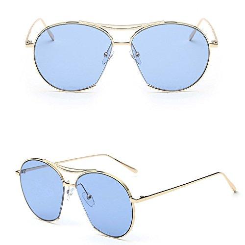Sunyan Kinder Sonnenbrille, Sonnenbrillen, Sonnenbrillen, UV-beständig Jungen und Mädchen, Eyeglass frame des Mädchens schöne 4-10 jährige Persönlichkeit, Marine film-Gold Rahmen Blau