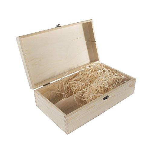 Double en bois Vin support Boîte étui de rangement/couvercle à charnière/couleurs/Fermoir en métal/37 x 21 x 11 cm 37 x 21 x 11 cm uni