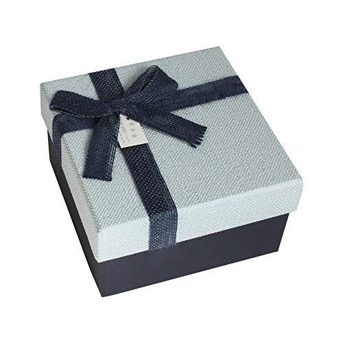 Emartbuy Set von 4 Starrer Luxus Quadratisch Präsentation Geschenkbox, Dunkelblaue Schachtel mit Hellblauem Deckel, Schokoladenbrauner Innenraum und Stoff Dekorativer Schleife
