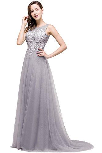 Damen Elegant V-Ausschnitt Mesh Brautkleid lang Rückenfrei Grau 46