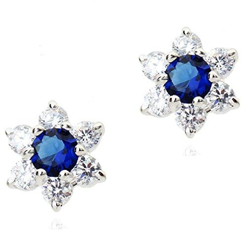 Fiori Orecchini a lobo con Zaffiro simulato blu Cristalli austriaci di zirconi 18 kt placcato oro per donne e ragazze