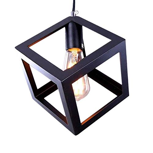 Pendant Light Retro Style Lampshade E27 Base Black Metal Puzzle Cube Design Creative Personality Staircase Restaurant Aisle Wrought Iron Industrial Chandelier - Antike Ei-korb