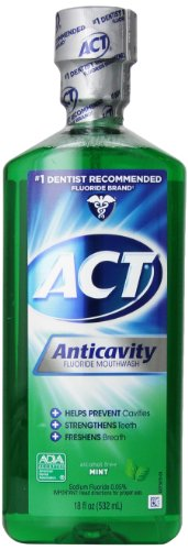 ACT Anticavity Fluoride Mouthwash Alcohol Free Mint -- 18 fl oz by ACT