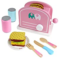 Buyger Wooden Pop Up Toaster Play Food Girls Role Play Kitchen Toys Pretend Food for Girls Kids