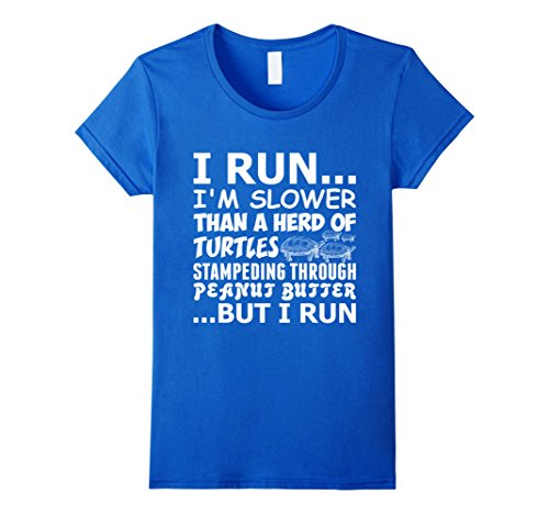 i-run-im-slower-than-a-herd-of-turtles-t-shirt-damen-grosse-m-konigsblau