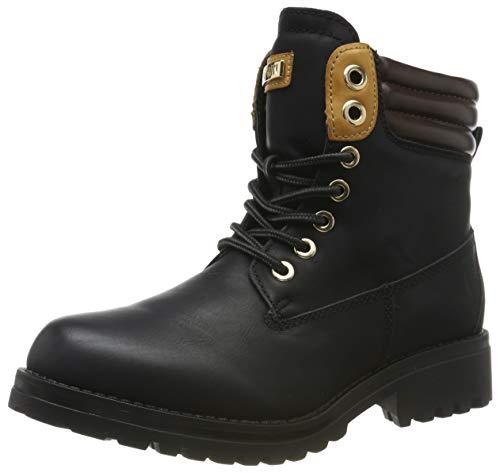 Warm Gefütterte Stiefeletten Damen Worker BootsOutdoor Winterstiefel Schnür Wildleder-Optik Schuhe 125746 Schwarz 39 Flandell