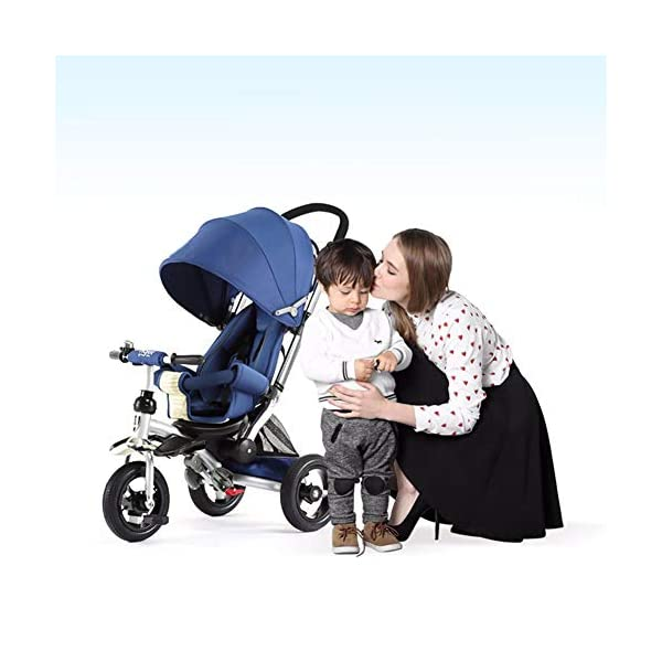GSDZSY - 3 IN 1 Children Kids Tricycle, Seat Adjustable, Baby Can Sit Or Lie Flat, Push Rod Can Control The Direction, Rubber Wheel, 1-6 Years Old GSDZSY ❀ Material: High carbon steel + ABS + rubber wheel, suitable for children from 6 months to 6 years old, maximum load 30 kg ❀ Features: The push rod can be adjusted in height, the seat can be rotated 360, the backrest can be adjusted, the baby can sit or lie flat; the adjustable umbrella can be used for different weather conditions ❀ Performance: high carbon steel frame, strong and strong bearing capacity; rubber wheel suitable for all kinds of road conditions, good shock absorption, seat with breathable fabric, baby ride more comfortable 8