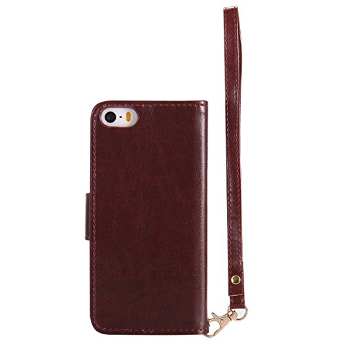 Custodia iPhone 5S, iPhone SE Flip Case Leather, SainCat Custodia in Pelle Cover per iPhone 5/5S/SE, Bling Glitter Anti-Scratch Book Style Protettiva Caso PU Leather Flip Portafoglio Custodia Libro Pr Marrone