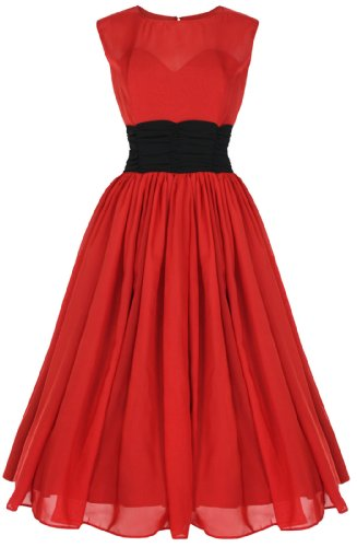 Lindy Bop 'Serena' Elegant Vintage 1950's Chiffon Prom Swing Dress