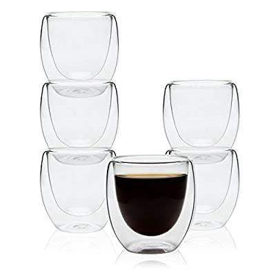 Rachel's 80ml/250ml/350ml Double Wall Shot Glass Cup Set, for Cappuccino Latte Macchiatto Espresso Tea Coffee, Durable Mug for Daily Morning Use