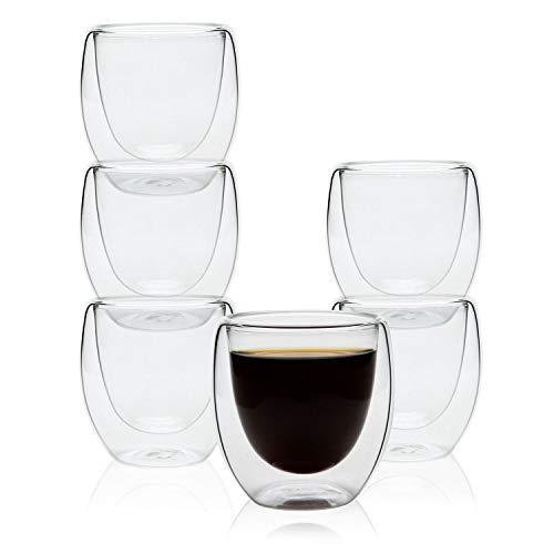Rachel's Choice 80ml Verre double Tasse à expresso ou tasse à thé, Paquet de 6