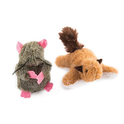 leo.toys Katzenspielzeug 2er Set Plüschspielzeug Maus und Eichhörnchen