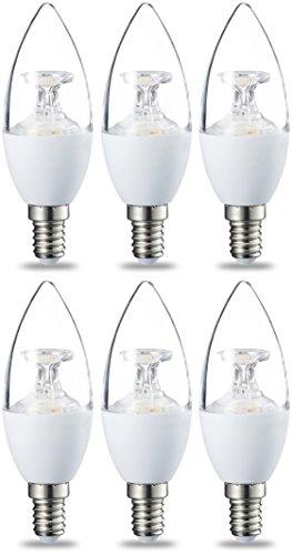 AmazonBasics Petite ampoule bougie LED E14 B35 avec culot à vis, 6W (équivalent ampoule incandescente de 40W), blanc chaud transparent, dimmable - Lot de 6