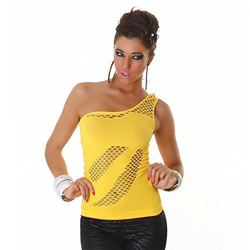 B[ ]X Damen Eine Schulter Top Gelb