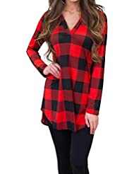 Blouse Tops Casual Loose Women's Long Sleeve Tops,Bovake Women V Neck Striped Lattice Tops Long Sleeve Tops Blouse T-Shirt Large Plaid Head Shirt Blouse