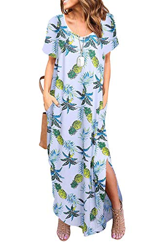 Zilcremo Damen Strandkleid Bohemian Lang Kleid Sommerkleid Kurze Ärmel Boho Kleider Maxikleid Ananas XXL
