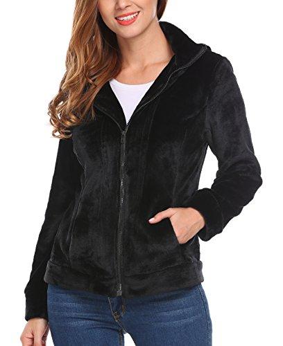 MeaneorDamen Teddy-Fleece Mantel weicher Jacke mit hohem Kragen Kapuzen Baggy Parka Jacke Coat Herbst WinterFrühling Schwarz-S