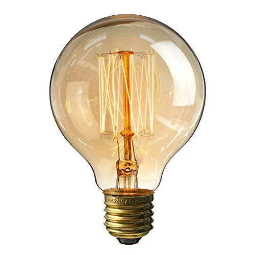 Vintage Edison Glühbirne, Elfeland Antike Stil Dekorative Lampe (40W, E27, 180LM) Squirrel Cage Filament Ideal für Nostalgie und Retro Beleuchtung Modell G80 (φ80 mm) - 1 Stück