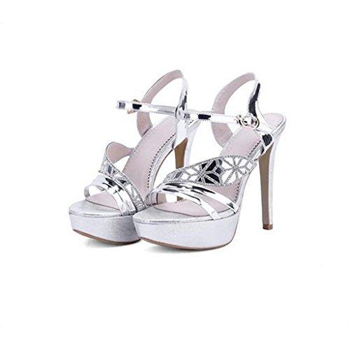 W&LM Signorina Tacchi alti sandali Scarpe da sposa sandali Piattaforma impermeabile Ok Bocca poco profonda Scarpe damigella d'onore Silver