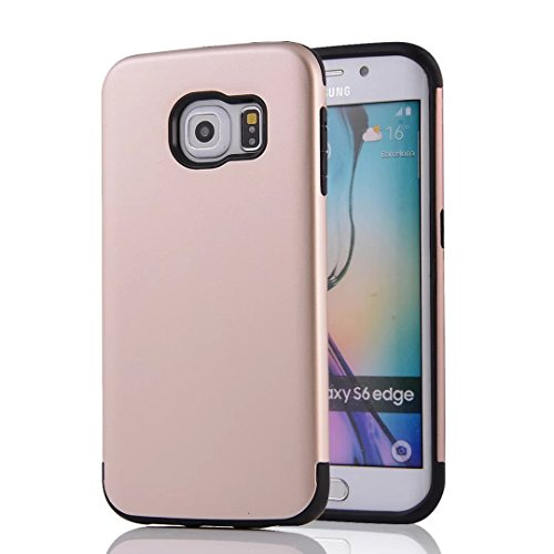 YHUISEN Galaxy S6 Edge Case, 2 In 1 PC + TPU Dual Layer Armor Hybrid Schutz Schock Absorption Hard Back Cover Fall für Samsung Galaxy S6 Edge ( Color : Gray Red ) Gold