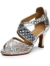 HCCY Zapatos de Baile Latino de tacón bajo con Lentejuelas de Malla para  Damas Adultas y 2cb47819f3af
