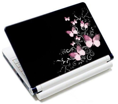 MySleeveDesign Notebook Skin Aufkleber Folie Sticker für Geräte der Größe 10,2 Zoll / 11,6-12,1 Zoll / 13,3 Zoll / 14 Zoll / 15,4-15,6 Zoll mit VERSCH. DESIGNS - Butterfly Black