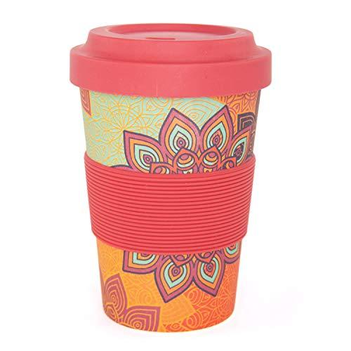 """YogiCup2Go, Bambus Coffee-to-go-Becher mit Print\""""Sunflower\"""", rot-orange, Bamboo-Cup als Mehrweg-Tasse für unterwegs, mit Silikon-Manschette und Schraubdeckel, 475 ml Fassungsvermögen"""