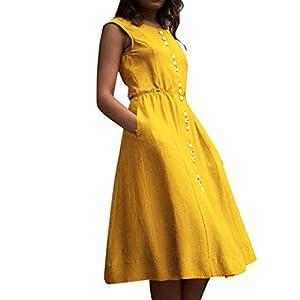 Damen Kleider High Waist Casual MiniKleid Shirt Freizeitkleider Sommer Tunika Tshirt Kleid mit Taschen Inawayls