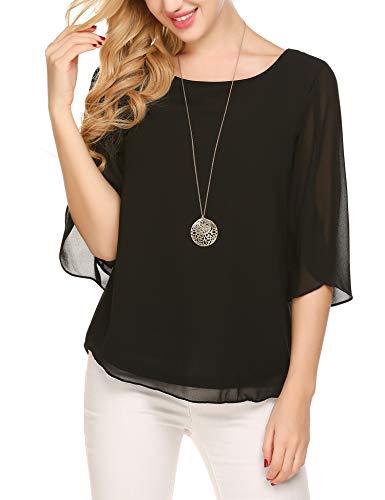 Beyove Damen Shirts lose 3/4 Ärmel Bluse Hemd Chiffon Langarmshirts Oberteile Tops elegant (EU 44(Herstellergröße:XXL), Schwarz-neu) - Elegantes Shirt Hose